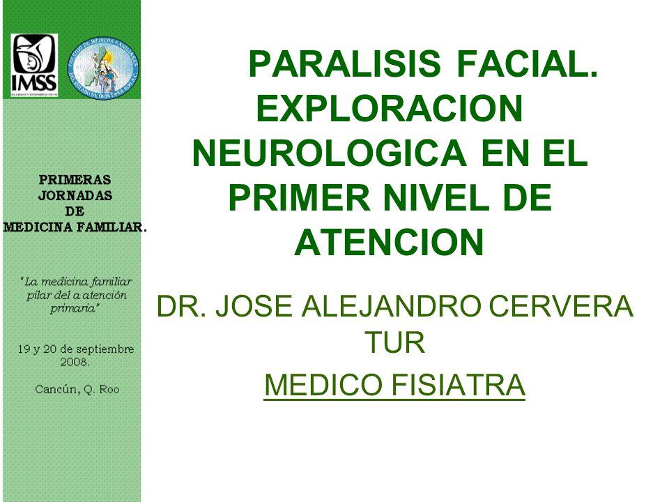 PARALISIS FACIAL. EXPLORACION NEUROLOGICA EN EL PRIMER NIVEL DE ATENCION DR. JOSE ALEJANDRO CERVERA TUR MEDICO FISIATRA