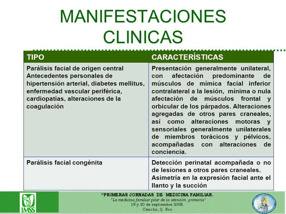 MANIFESTACIONES CLINICAS TIPOCARACTERÍSTICAS Parálisis facial de origen central Antecedentes personales de hipertensión arterial, diabetes mellitus, e