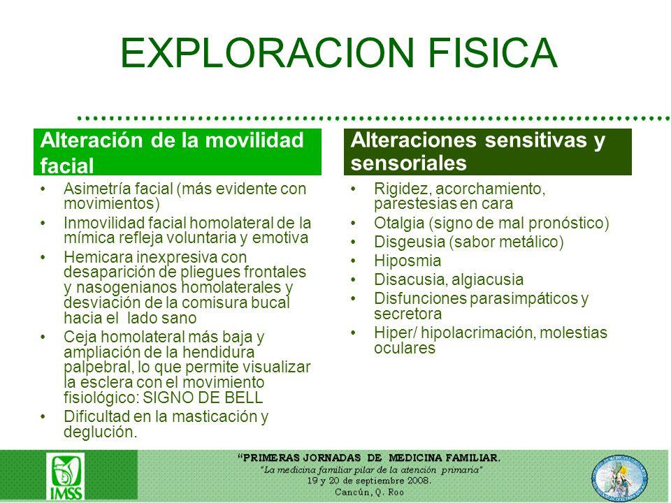 EXPLORACION FISICA Asimetría facial (más evidente con movimientos) Inmovilidad facial homolateral de la mímica refleja voluntaria y emotiva Hemicara i
