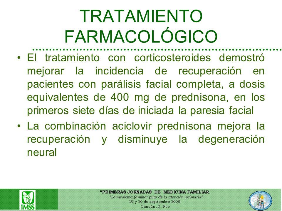 TRATAMIENTO FARMACOLÓGICO El tratamiento con corticosteroides demostró mejorar la incidencia de recuperación en pacientes con parálisis facial complet