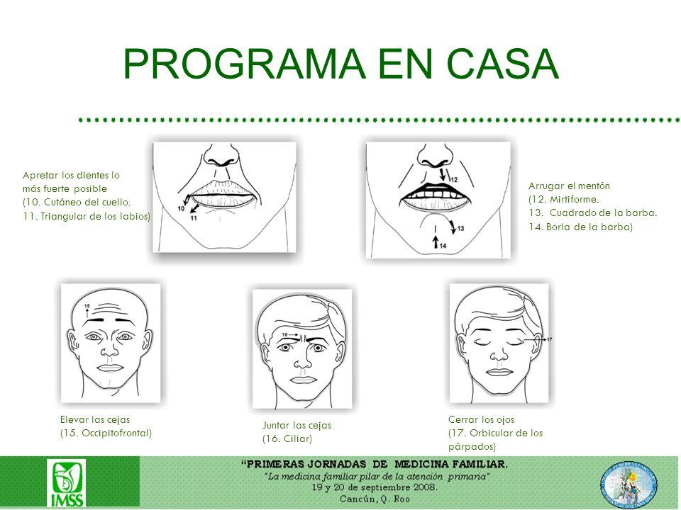 PROGRAMA EN CASA Apretar los dientes lo más fuerte posible (10. Cutáneo del cuello. 11. Triangular de los labios) Arrugar el mentón (12. Mirtiforme. 1