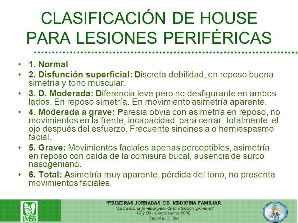 CLASIFICACIÓN DE HOUSE PARA LESIONES PERIFÉRICAS 1. Normal 2. Disfunción superficial: Discreta debilidad, en reposo buena simetría y tono muscular. 3.