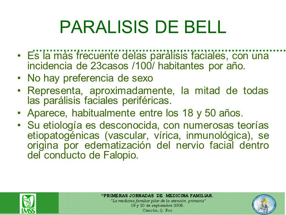 PARALISIS DE BELL Es la más frecuente delas parálisis faciales, con una incidencia de 23casos /100/ habitantes por año. No hay preferencia de sexo Rep