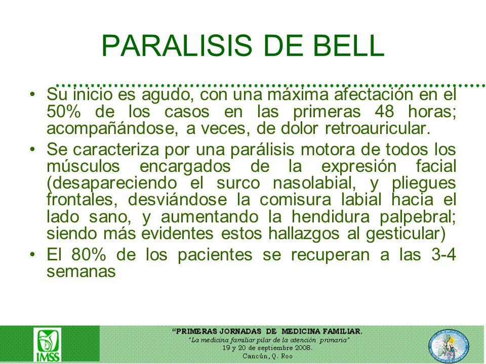 PARALISIS DE BELL Su inicio es agudo, con una máxima afectación en el 50% de los casos en las primeras 48 horas; acompañándose, a veces, de dolor retr
