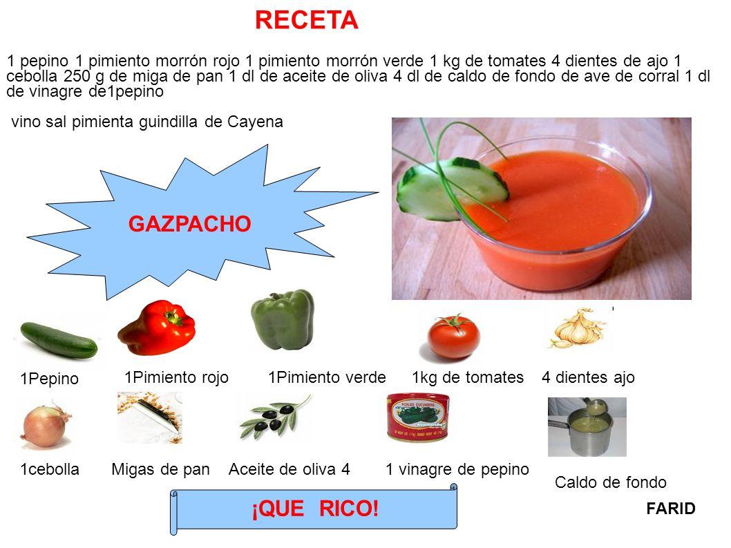 1 pepino 1 pimiento morrón rojo 1 pimiento morrón verde 1 kg de tomates 4 dientes de ajo 1 cebolla 250 g de miga de pan 1 dl de aceite de oliva 4 dl d