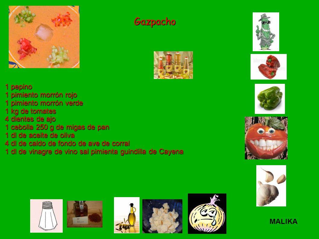 1 pepino 1 pimiento morrón rojo 1 pimiento morrón verde 1 kg de tomates 4 dientes de ajo 1 cebolla 250 g de migas de pan 1 dl de aceite de oliva 4 dl