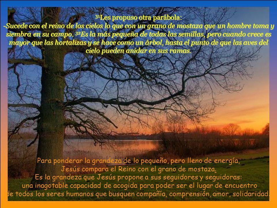 31 Les propuso otra parábola: -Sucede con el reino de los cielos lo que con un grano de mostaza que un hombre toma y siembra en su campo.