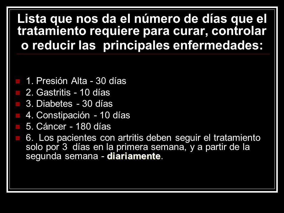 Lista que nos da el número de días que el tratamiento requiere para curar, controlar o reducir las principales enfermedades: 1. Presión Alta - 30 días
