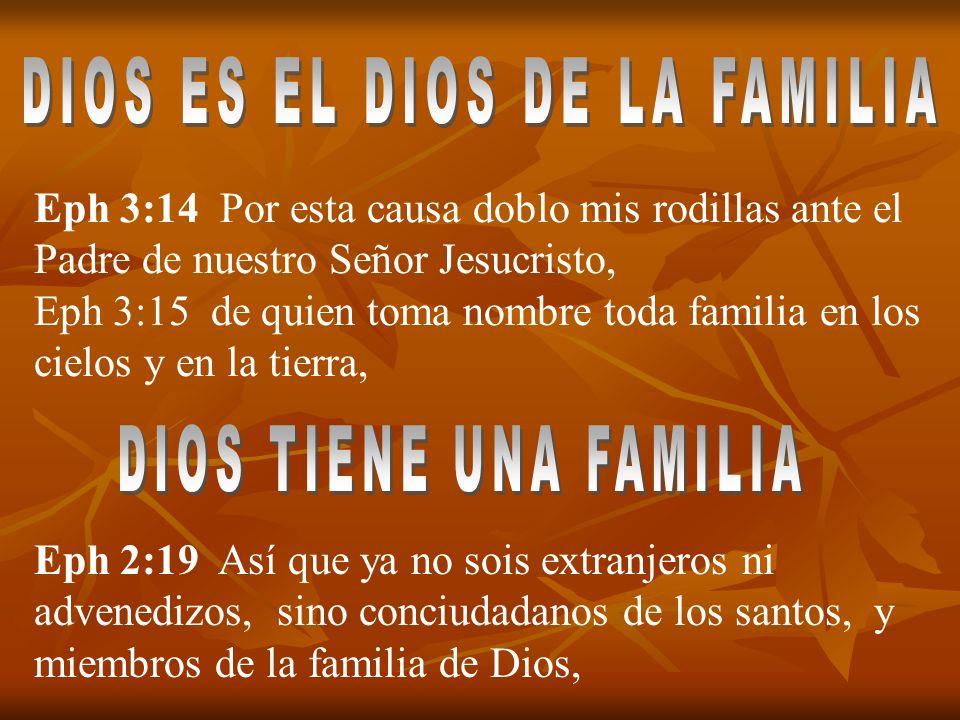 Eph 3:14 Por esta causa doblo mis rodillas ante el Padre de nuestro Señor Jesucristo, Eph 3:15 de quien toma nombre toda familia en los cielos y en la