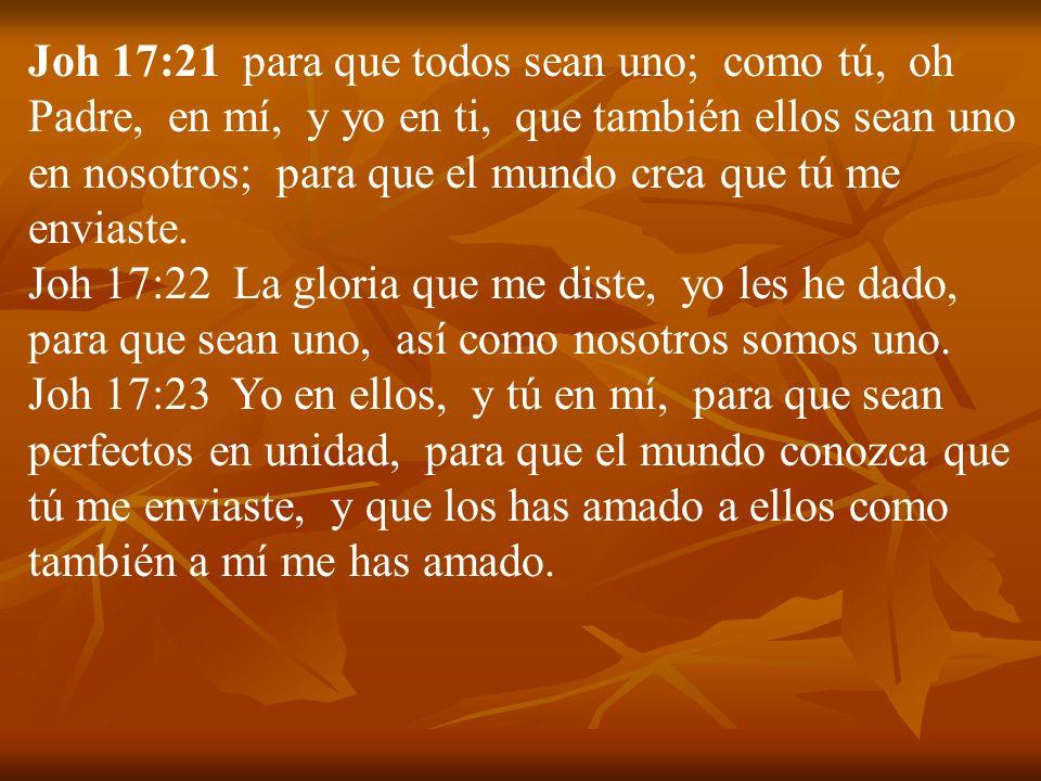 Joh 17:21 para que todos sean uno; como tú, oh Padre, en mí, y yo en ti, que también ellos sean uno en nosotros; para que el mundo crea que tú me envi