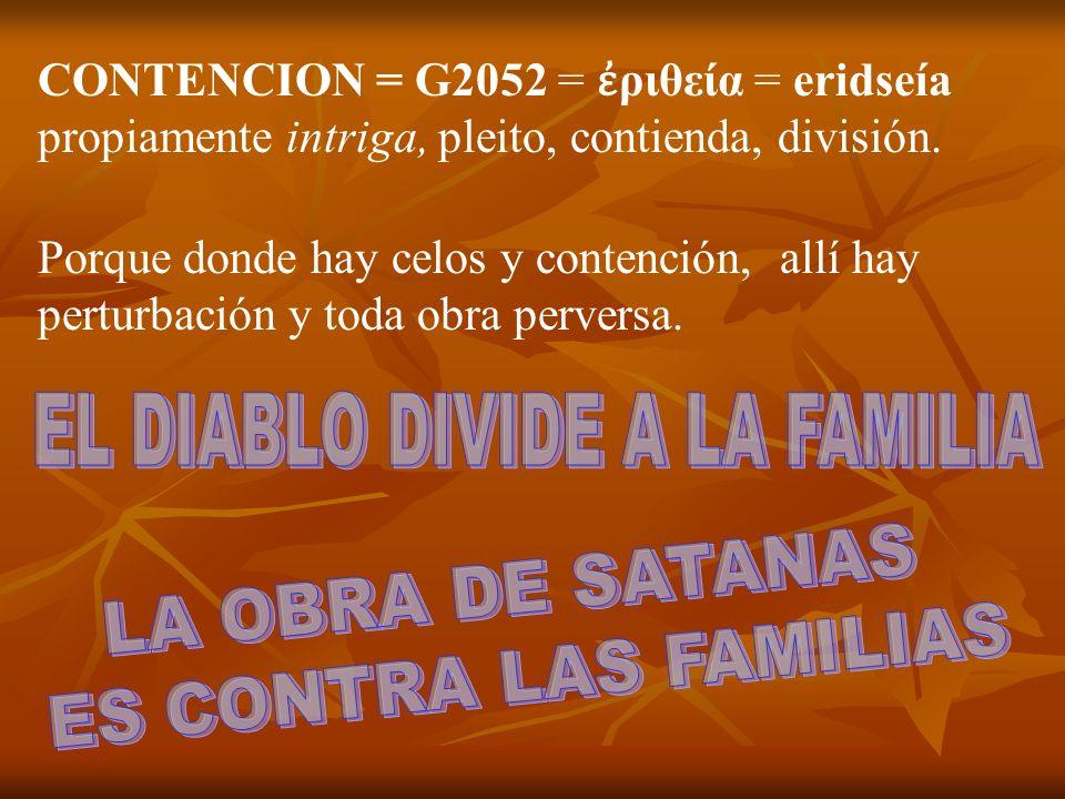 CONTENCION = G2052 = ριθεία = eridseía propiamente intriga, pleito, contienda, división. Porque donde hay celos y contención, allí hay perturbación y
