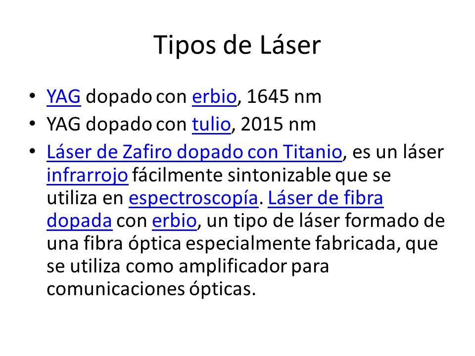 Tipos de Láser YAG dopado con erbio, 1645 nm YAGerbio YAG dopado con tulio, 2015 nmtulio Láser de Zafiro dopado con Titanio, es un láser infrarrojo fá