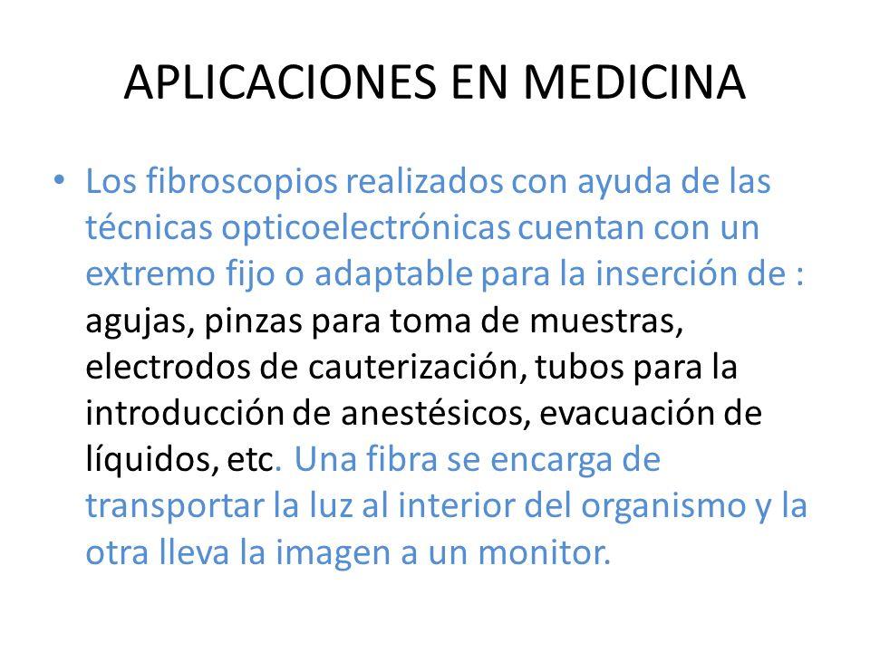 APLICACIONES EN MEDICINA Los fibroscopios realizados con ayuda de las técnicas opticoelectrónicas cuentan con un extremo fijo o adaptable para la inse