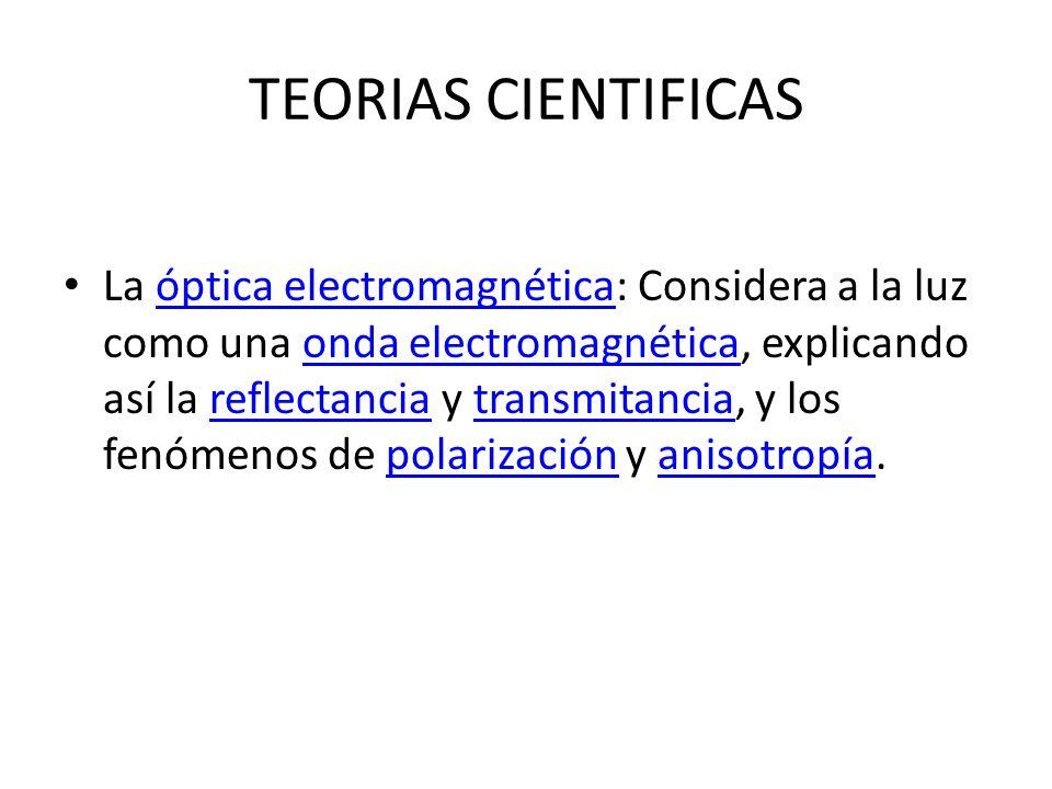 TEORIAS CIENTIFICAS La óptica electromagnética: Considera a la luz como una onda electromagnética, explicando así la reflectancia y transmitancia, y l