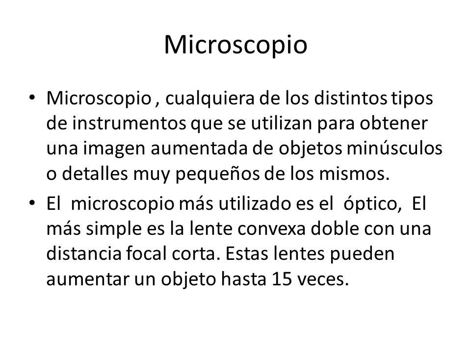 Microscopio Microscopio, cualquiera de los distintos tipos de instrumentos que se utilizan para obtener una imagen aumentada de objetos minúsculos o d