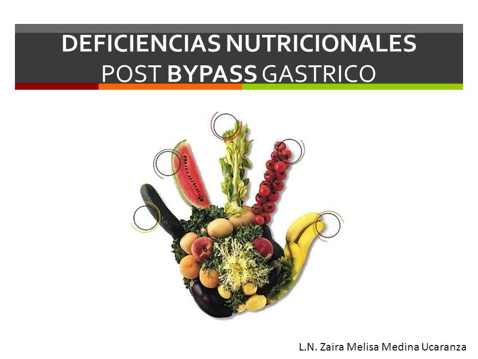 DEFICIENCIAS NUTRICIONALES POST BYPASS GASTRICO L.N. Zaira Melisa Medina Ucaranza