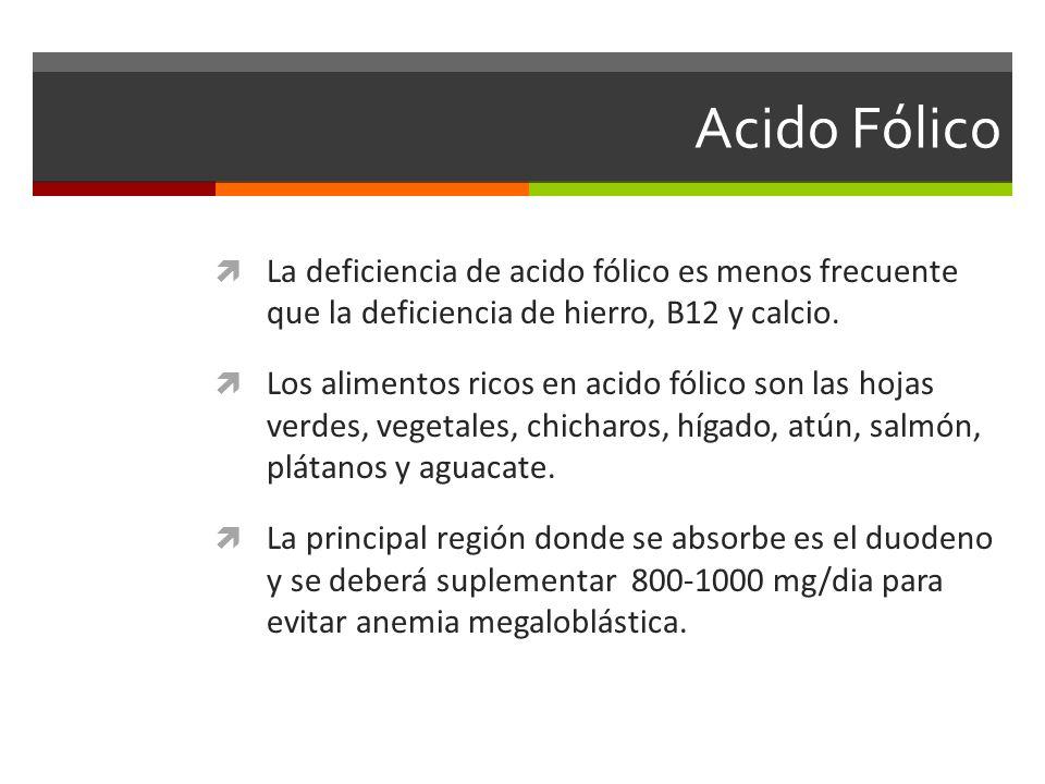 Acido Fólico La deficiencia de acido fólico es menos frecuente que la deficiencia de hierro, B12 y calcio. Los alimentos ricos en acido fólico son las