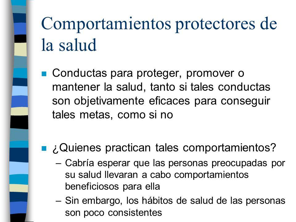 Comportamientos protectores de la salud n Conductas para proteger, promover o mantener la salud, tanto si tales conductas son objetivamente eficaces p