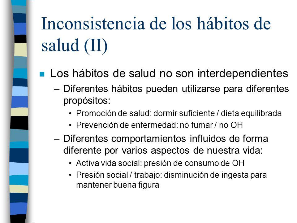 Inconsistencia de los hábitos de salud (II) n Los hábitos de salud no son interdependientes –Diferentes hábitos pueden utilizarse para diferentes prop