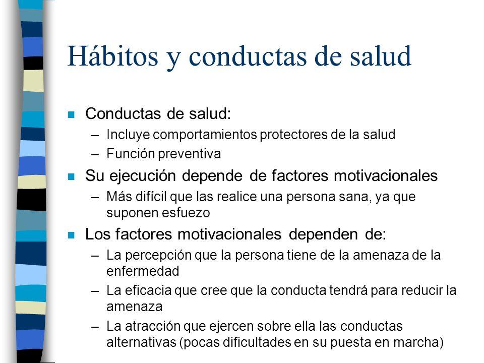 Hábitos y conductas de salud n Conductas de salud: –Incluye comportamientos protectores de la salud –Función preventiva n Su ejecución depende de fact
