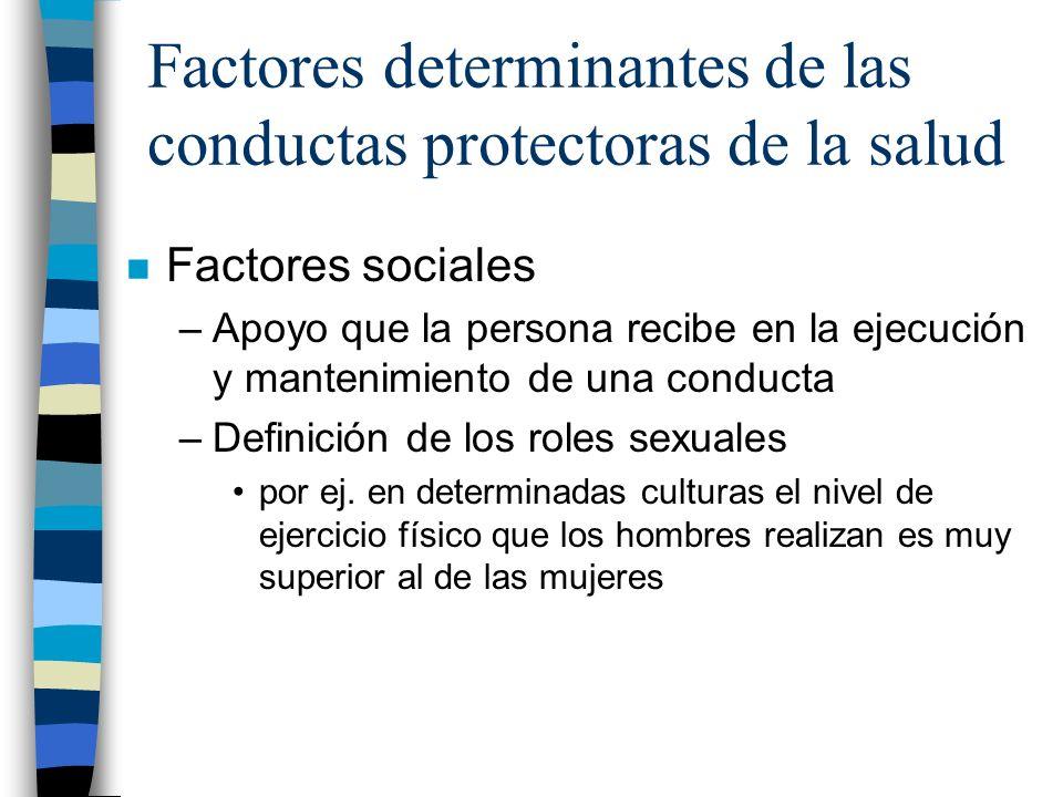 Factores determinantes de las conductas protectoras de la salud n Factores sociales –Apoyo que la persona recibe en la ejecución y mantenimiento de un