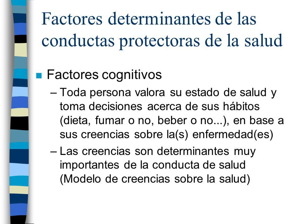 Factores determinantes de las conductas protectoras de la salud n Factores cognitivos –Toda persona valora su estado de salud y toma decisiones acerca