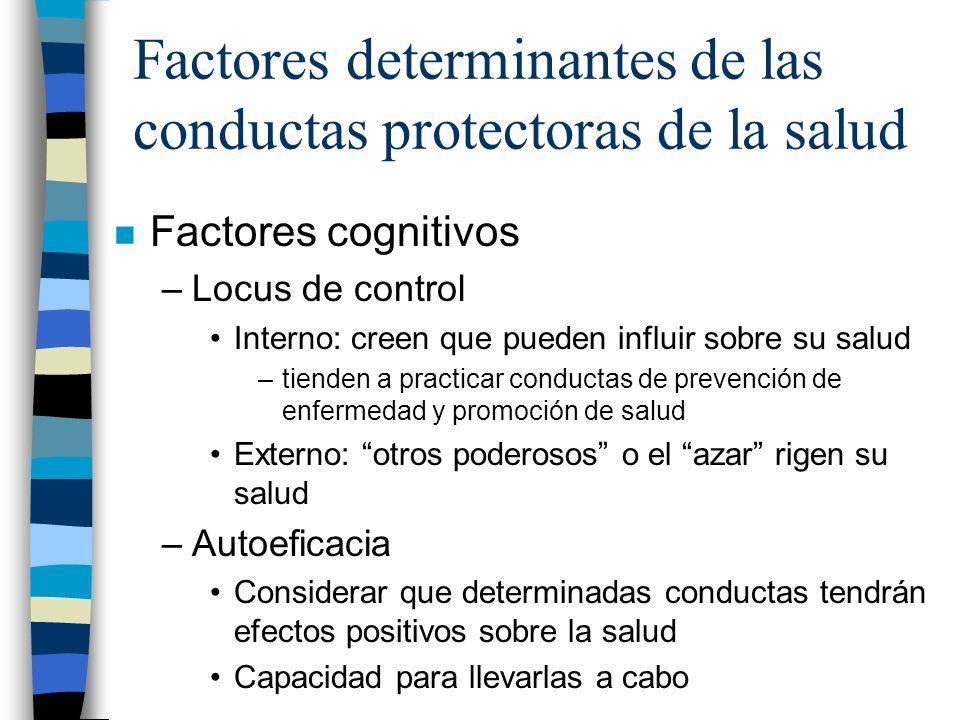 Factores determinantes de las conductas protectoras de la salud n Factores cognitivos –Locus de control Interno: creen que pueden influir sobre su sal