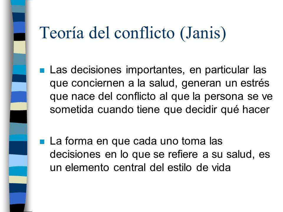 Teoría del conflicto (Janis) n Las decisiones importantes, en particular las que conciernen a la salud, generan un estrés que nace del conflicto al qu