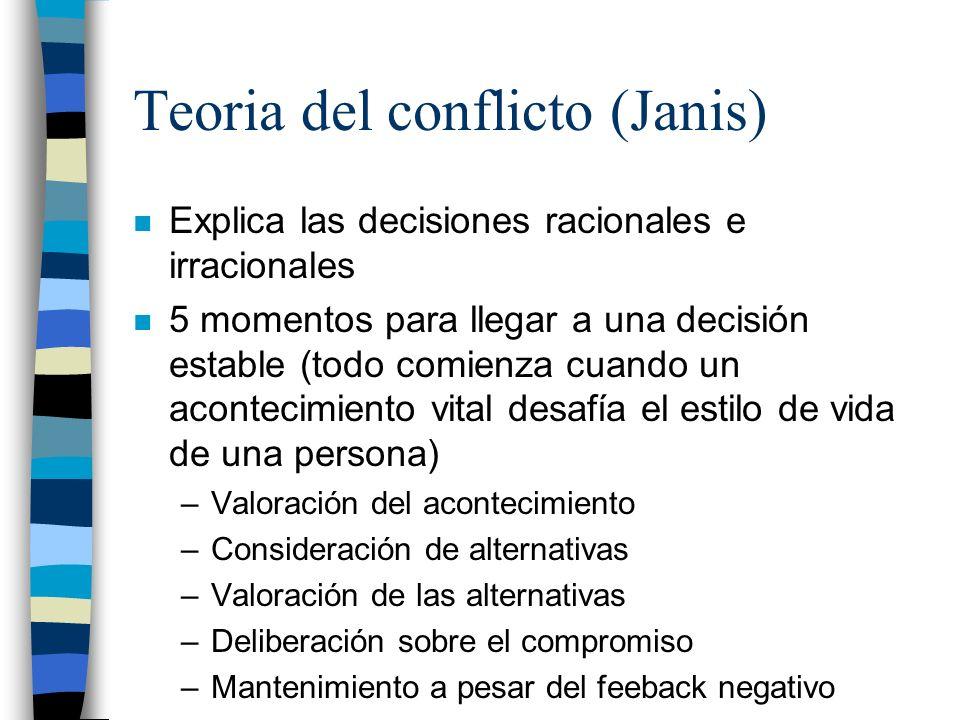 Teoria del conflicto (Janis) n Explica las decisiones racionales e irracionales n 5 momentos para llegar a una decisión estable (todo comienza cuando
