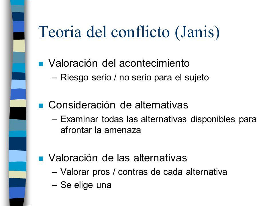Teoria del conflicto (Janis) n Valoración del acontecimiento –Riesgo serio / no serio para el sujeto n Consideración de alternativas –Examinar todas l