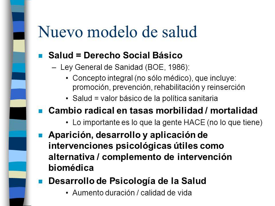 Nuevo modelo de salud n Salud = Derecho Social Básico –Ley General de Sanidad (BOE, 1986): Concepto integral (no sólo médico), que incluye: promoción,