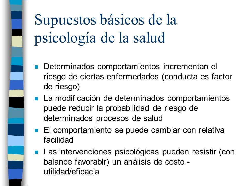 Supuestos básicos de la psicología de la salud n Determinados comportamientos incrementan el riesgo de ciertas enfermedades (conducta es factor de rie