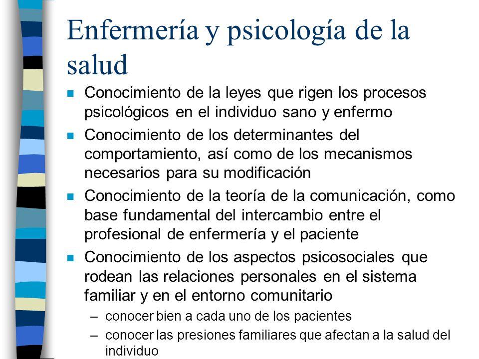 Enfermería y psicología de la salud n Conocimiento de la leyes que rigen los procesos psicológicos en el individuo sano y enfermo n Conocimiento de lo