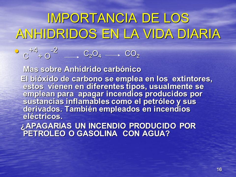 16 IMPORTANCIA DE LOS ANHIDRIDOS EN LA VIDA DIARIA C +4 + O -2 C 2 O 4 CO 2 C +4 + O -2 C 2 O 4 CO 2 Mas sobre Anhídrido carbónico Mas sobre Anhídrido