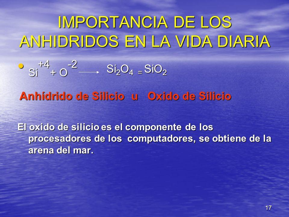 17 IMPORTANCIA DE LOS ANHIDRIDOS EN LA VIDA DIARIA Si +4 + O -2 Si 2 O 4 = SiO 2 Si +4 + O -2 Si 2 O 4 = SiO 2 Anhídrido de Silicio u Oxido de Silicio