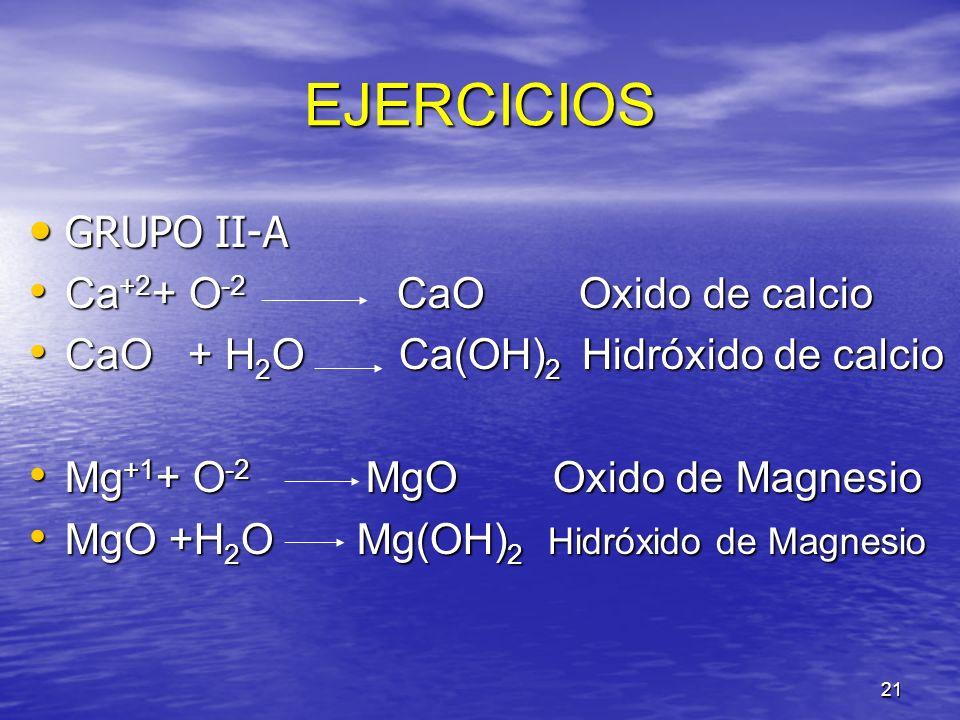 21 EJERCICIOS GRUPO II-A GRUPO II-A Ca +2 + O -2 CaO Oxido de calcio Ca +2 + O -2 CaO Oxido de calcio CaO + H 2 O Ca(OH) 2 Hidróxido de calcio CaO + H