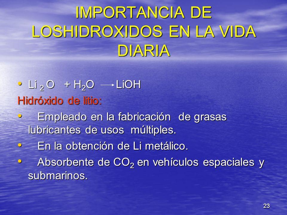 23 IMPORTANCIA DE LOSHIDROXIDOS EN LA VIDA DIARIA Li 2 O + H 2 O LiOH Li 2 O + H 2 O LiOH Hidróxido de litio: Empleado en la fabricación de grasas lub