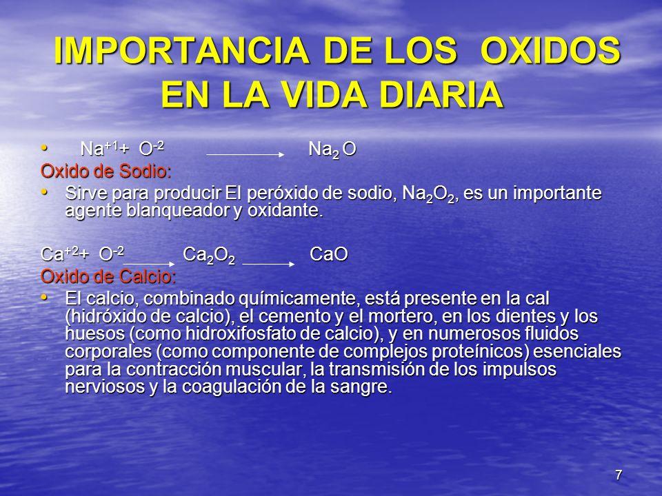 7 IMPORTANCIA DE LOS OXIDOS EN LA VIDA DIARIA IMPORTANCIA DE LOS OXIDOS EN LA VIDA DIARIA Na +1 + O -2 Na 2 O Na +1 + O -2 Na 2 O Oxido de Sodio: Sirv