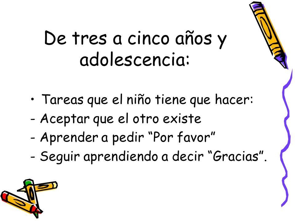 De tres a cinco años y adolescencia: Tareas que el niño tiene que hacer: - Aceptar que el otro existe - Aprender a pedir Por favor - Seguir aprendiend