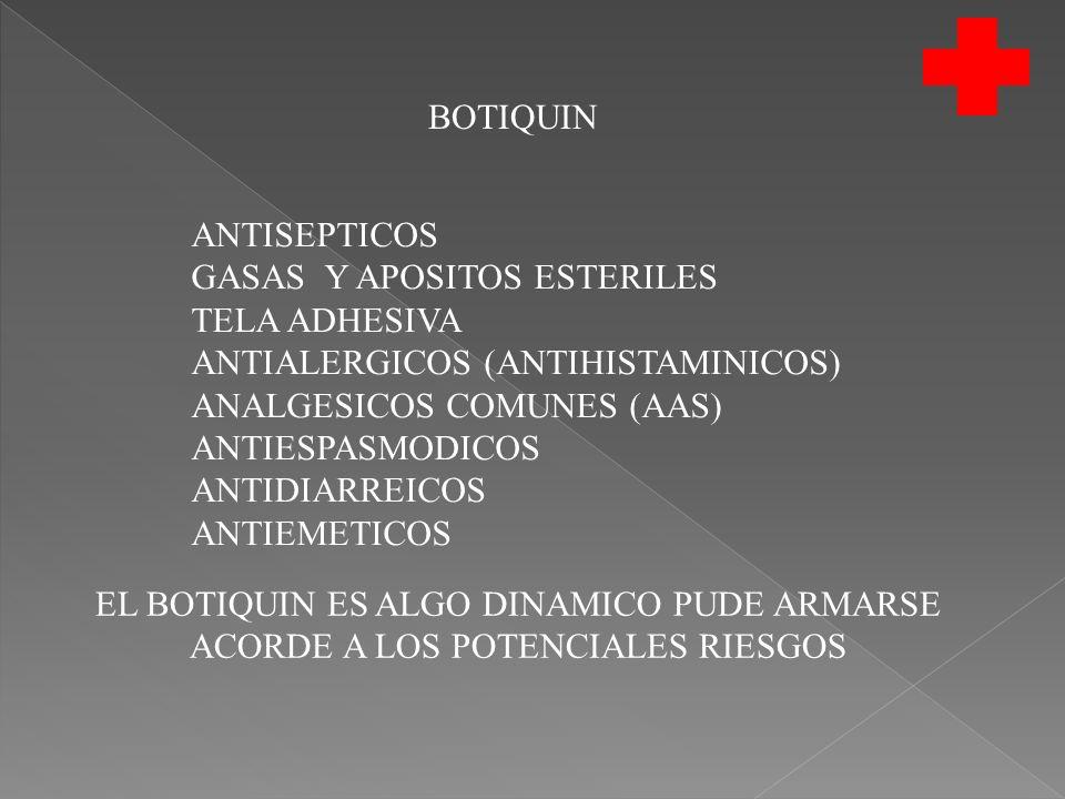 BOTIQUIN ANTISEPTICOS GASAS Y APOSITOS ESTERILES TELA ADHESIVA ANTIALERGICOS (ANTIHISTAMINICOS) ANALGESICOS COMUNES (AAS) ANTIESPASMODICOS ANTIDIARREICOS ANTIEMETICOS EL BOTIQUIN ES ALGO DINAMICO PUDE ARMARSE ACORDE A LOS POTENCIALES RIESGOS