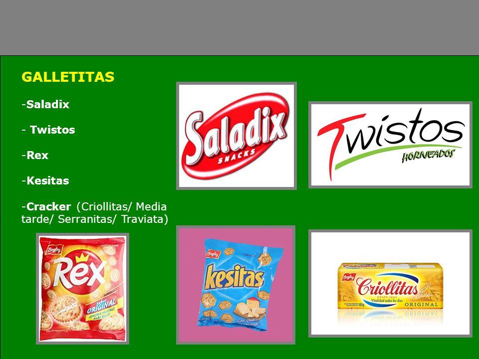 GALLETITAS -Saladix - Twistos -Rex -Kesitas -Cracker (Criollitas/ Media tarde/ Serranitas/ Traviata)