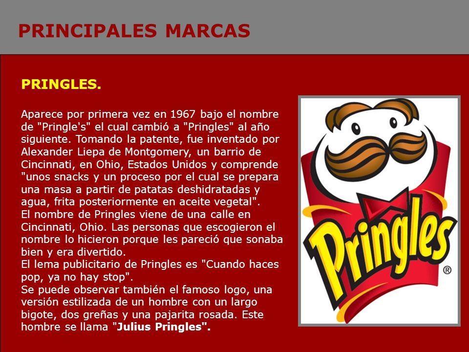PRINCIPALES MARCAS PRINGLES. Aparece por primera vez en 1967 bajo el nombre de
