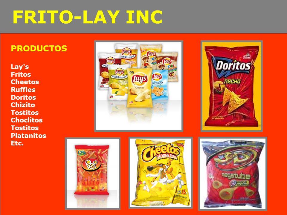 PRODUCTOS Lay's Fritos Cheetos Ruffles Doritos Chizito Tostitos Choclitos Tostitos Platanitos Etc. FRITO-LAY INC