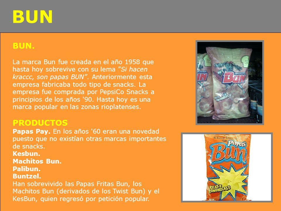 BUN. La marca Bun fue creada en el año 1958 que hasta hoy sobrevive con su lema Si hacen kraccc, son papas BUN. Anteriormente esta empresa fabricaba t