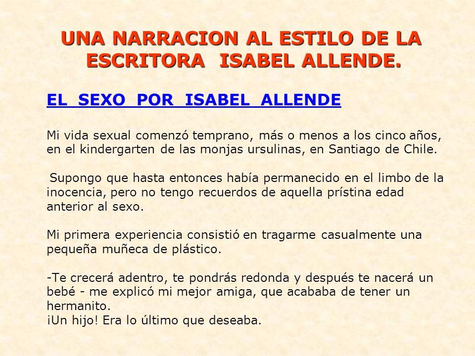 Isabel Allende Llona (Lima, Perú, 2 de agosto de 1942) Es una escritora chilena, premio nacional de literatura 2010.