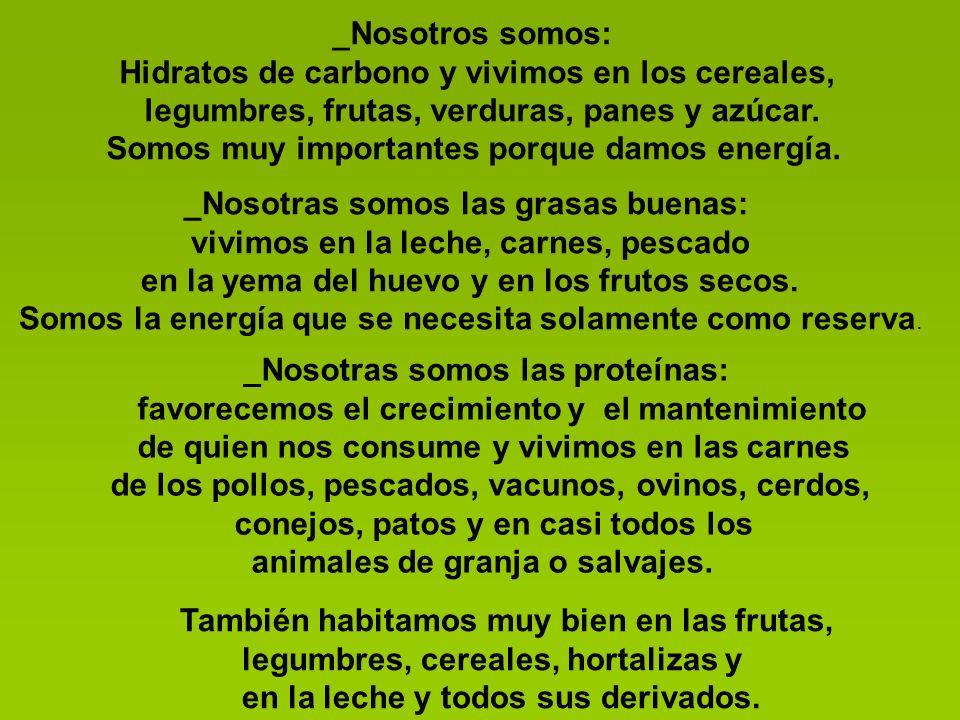 _Nosotros somos: Hidratos de carbono y vivimos en los cereales, legumbres, frutas, verduras, panes y azúcar.