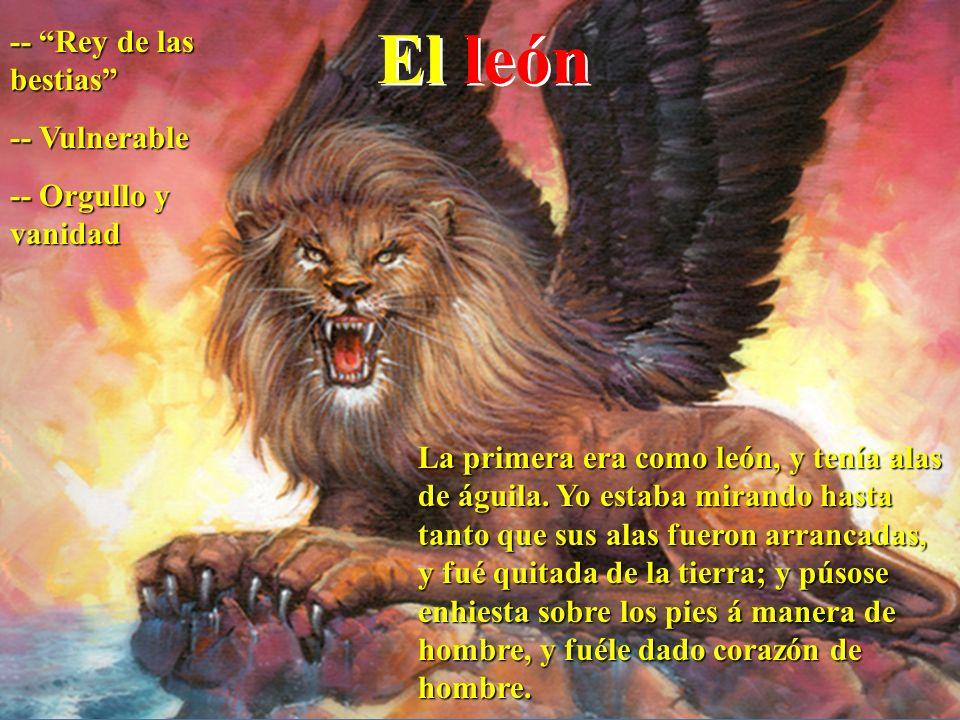 El león -- Rey de las bestias -- Vulnerable -- Orgullo y vanidad La primera era como león, y tenía alas de águila. Yo estaba mirando hasta tanto que s
