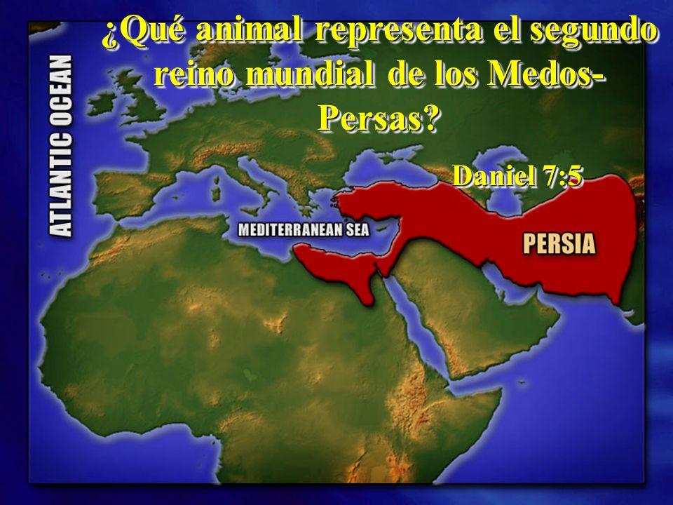 ¿Qué animal representa el segundo reino mundial de los Medos- Persas? Daniel 7:5 Daniel 7:5 ¿Qué animal representa el segundo reino mundial de los Med