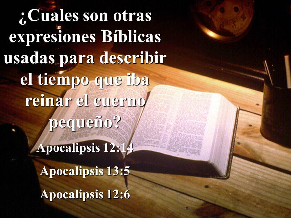 ¿Cuales son otras expresiones Bíblicas usadas para describir el tiempo que iba reinar el cuerno pequeño? Apocalipsis 12:14 Apocalipsis 13:5 Apocalipsi