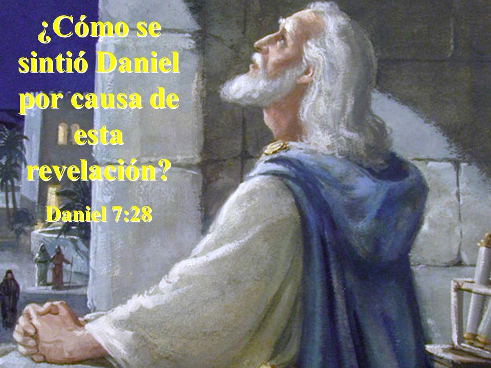 ¿Cómo se sintió Daniel por causa de esta revelación? Daniel 7:28 ¿Cómo se sintió Daniel por causa de esta revelación? Daniel 7:28